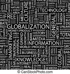 GLOBALIZATION. Seamless pattern. Word cloud illustration.