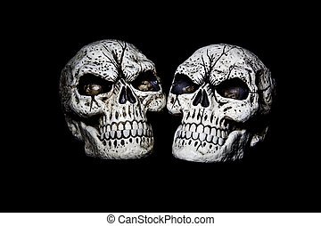 Two Heads are Better Than One - Two fake skulls are isolated...
