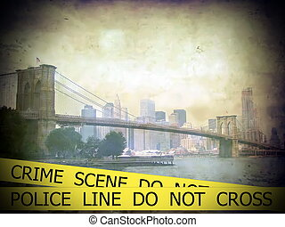 Police line do not cross sign tape on grunge Scenic view of...