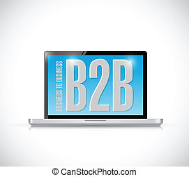 business to business on a computer. illustration