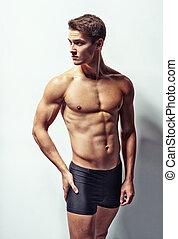 Retrato, jovem, excitado, Muscular, homem
