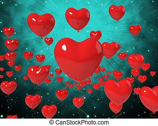 Heart Balloons On Background Showing High In Love Or Passionate Romance