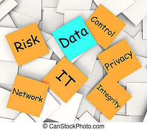 Data Post-It Note Shows Information Privacy And Control -...