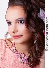 retrato, mujer, maquillaje, rosa, decoración,...