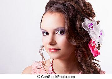 rosa, morena, ella, rizado, púrpura, Técnica, pelo,...