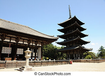 Nara - Five-storied pagoda of the Kofuku-ji temple at Nara,...