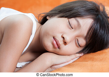 Girl sleeping - Girl was sleeping.child Asian women with...