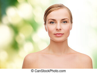 young woman - health and beauty concept - clean face of...