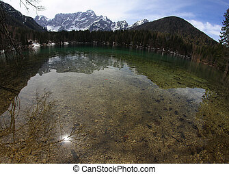 Clear water of the Lake with the Alps 3 - alpine Lake with...