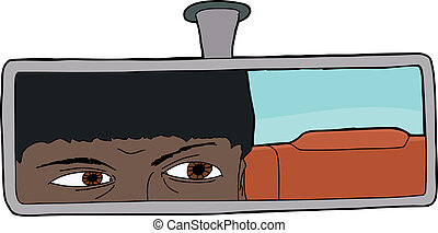 Indian Motorist - Indian male driver looking in rear view...