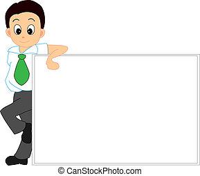 Man With A White Board - Vector Illustration of A Man With A...