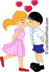Boy and Girl Kissing - Vector Illustration of Boy and Girl...