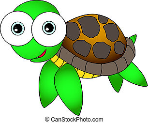 Cute Sea Turtle - Vector Illustration of A Cute Sea Turtle