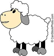cartoon sheep -  Vector illustration of a cartoon sheep