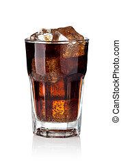 cola, vidrio, hielo, cubos