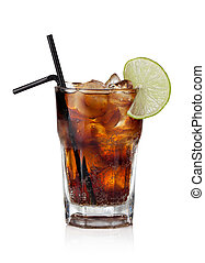Cuba Libre Drink with lime on a white background