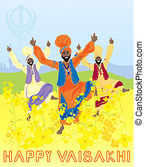vaisakhi harvest festival - an illustration of three punjabi...