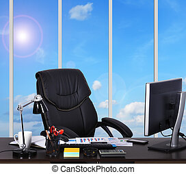 office - modern office with a view of sky