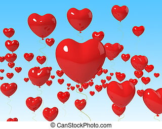 Heart Balloons Floating Mean Romance Passion And Love