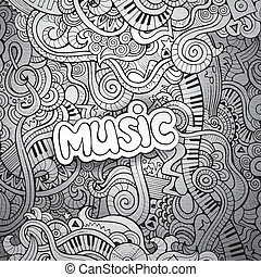 Music Sketchy Notebook Doodles Hand-Drawn Vector...