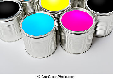 CMYK color paint tin cans opened top view