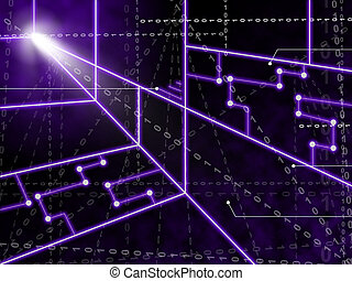 Laser Circuit Background Showing Bright Energy Wallpaper Or...