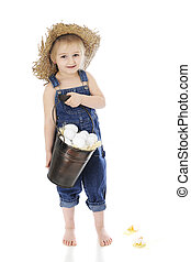 Oblivious Egg Collector - An adorable, preschool farm girl...