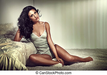 Sensual brunette woman in bedroom - Sensual beautiful...