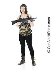 Camo Girl with Gun