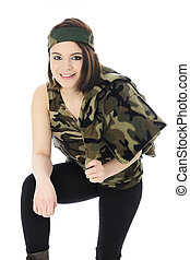 Pretty Camo Girl - A beautiful teen girl leaning forward in...