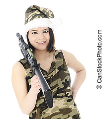 Ms Santas Got a Gun - A beautiful teen girl in a sleeveless...