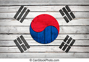 South Korean flag painted on wooden boards Grunge style