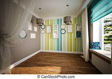 Interior room empty in modern style - Interior empty room in...