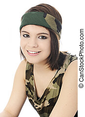 Camouflage Girl Portrait - Close-up portrait of a beautiful...