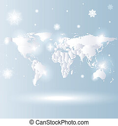snowy world map vector background - snowy design world map...