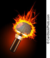 Microphone in Fire Isolated on Black Background.