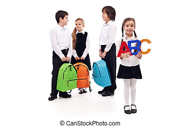 Group of school kids on white background
