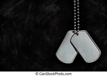 Dangling Tags - Military dog tags on a grunge background.