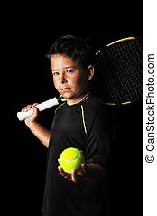 Portrait of handsome boy with tennis equipment - Portrait of...