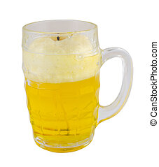 beer mug with froth isolated on white background