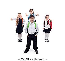espalda, escuela, concepto, feliz, fresco, niños