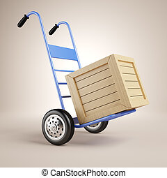Hand truck and wooden box over brown background. 3d...