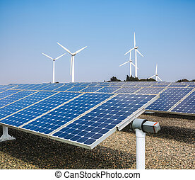 clean energy background - solar panels and wind power ,clean...