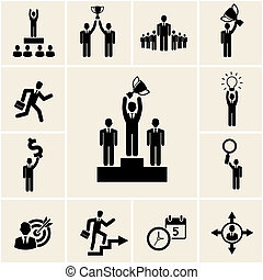 Set of vector business and career icons depicting...