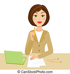 office secretary with notebook and pencil on her hand,...