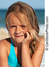 Beach portrait of a little girl