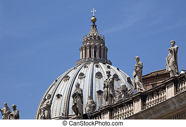 Michaelangelo\\\'s Dome With Statues Saint Peter\\\'s Basilica Vatican