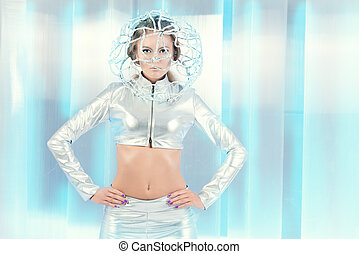 android woman - Beautiful young woman in silver latex...