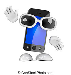 Waving smartphone - 3d render of a smartphone waving hello