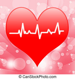 Electro On Heart Shows Beating Heart Or Heartbeat - Electro...